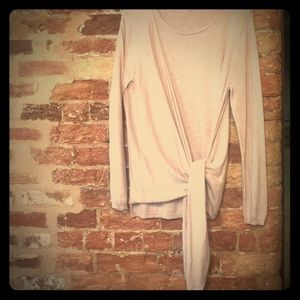 Super soft pale pink asymmetrical tie sweater